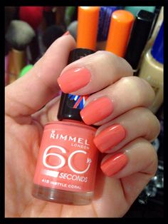 """Polish of the Week! Ft. Rimmel London (60 seconds) in shade """"Instyle Coral""""."""