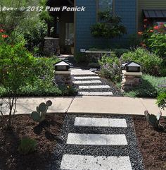 Front-yard garden with curving path -- one of several alternatives-to-lawn seen in Austin recently