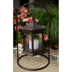 Starlite Clear Glass Solar Lantern w/ Arch Stand for $49.97 : Rural King - many different finishes and hanging methods - same price