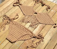 brown bikini set crochet bikini bottoms tie bikini crochet bikini top - swimsuit swimwear beach pool festival summerwear senoaccessory on Etsy, 50,00 $
