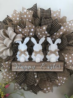Easter Bunny Trio Wreath/ farmhouse country decor 2018https://www.etsy.com/listing/593385093/easter-bunny-wreath-burlap-deco-mesh #easterdecor