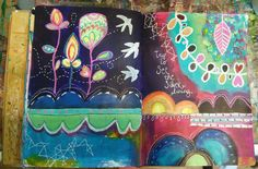 Intuitive painting art journal spread inspired by Alena Hennesy and her Life Book 2015 lesson. (By Amber Button)