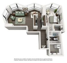 Suite A 1-Bedroom Apartment Floorplan