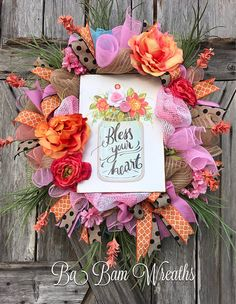 Bless Your Heart Everyday Wreath All Season Wreath Floral Summer Door Wreaths, Christmas Mesh Wreaths, Deco Mesh Wreaths, Spring Wreaths, Tulle Wreath, Floral Wreath, Wreath Bows, Wreath Crafts, Wreath Ideas