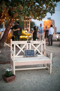 Bench instead of a book for guest signing! #rustic  Jen & Chris Wedding Photo By Stewart Uy Photography