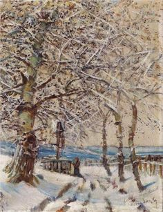 Trees With Hoar Frost 1892 Wood Print by Mednyanszky Laszlo. All wood prints are professionally printed, packaged, and shipped within 3 - 4 business days and delivered ready-to-hang on your wall.