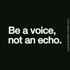 Be a voice, not an echo.