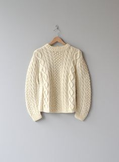 Tally Ho sweater cream wool 1960s cable knit by DearGolden