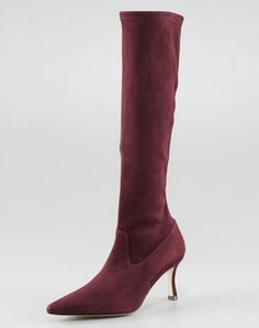 Manolo Blahnik Pascalare Tall Stretch Suede Boot Bordeaux