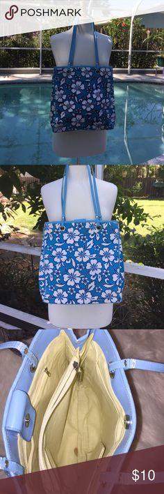 """Blues & White Hibiscus Tote bag w/beads on 1 side Blues & White Hibiscus Tote bag w/beading on 1 side, 2 zipped sections inside, has a stain inside from being stored but never used, 1 snap off but it's attached, 13""""x12""""x3-1/2"""", shoulder drop 13"""", aqua, dark blue & white. Bags Totes"""