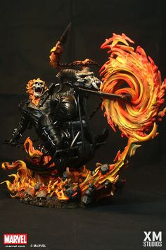 Ghost Rider who is a supernatural superhero with amazingly detailed scale cold-cast porcelain, brought to us by XM Studios available for pre-order now. Marvel Vs, Marvel Heroes, Marvel Comics, Captain Marvel, Sideshow Statues, Spirit Of Vengeance, Marvel Statues, Ghost Rider Marvel, Custom Action Figures