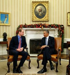 Prince William, Duke of Cambridge with President Obama in Oval Office. December 8, 2014.