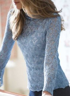 Free Knitting Pattern for an Oriel Lace Blouse