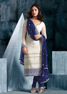 Churidar Blue & White Lace Salwar Kameez