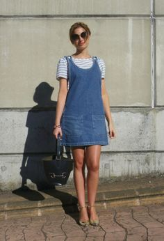 Woman in Dungaree Dress