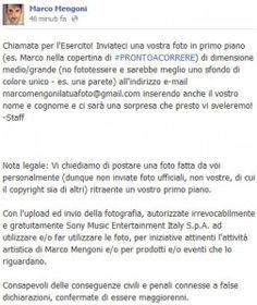 L'Esercito di Marco Mengoni è chiamato a raccolta per una nuova iniziativa svelata poco fa via Facebook.   In questi giorni l'artista sta tenendo i fan sulle spine svelando giorno dopo giorno interessanti novità che riguarderanno la sua estate. Dopo ave