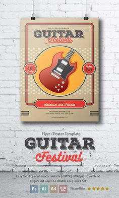 Guitar Festival Flyer  — PSD Template #party #guitar • Download ➝…
