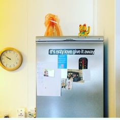 """53 Likes, 2 Comments - Drop Everything (@dropevrything) on Instagram: """"fridge sticker in a reykjavík studio that's since burnt down. 💛 #love #loveday…"""""""