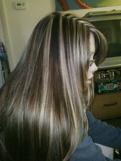 Chocolate and blonde chunky highlights:)