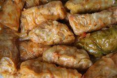 Töltött Káposzta Recipe (Hungarian stuffed cabbage rolls over sauerkraut)
