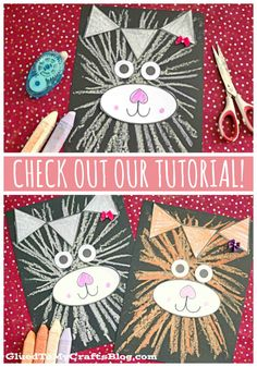 Paper & Chalk Art Cat Craft For Kids To Recreate - - I'm hoping to encourage some PURR-FECT creativity in your home today, with our latest Paper & Chalk Art Cat kid craft tutorial! Cat Crafts, Animal Crafts, Paper Crafts, Unicorn Crafts, Fabric Crafts, Kindergarten Art, Preschool Art, Toddler Crafts, Crafts For Kids