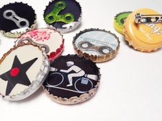 Bicycle Bottle Cap Resin Pins on Etsy, $2.00
