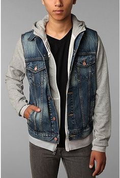 Jean Jacket Vest With Hoodie For Men