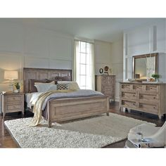 Superbe Driftwood Classic Shaker 4 Piece Queen Bedroom Set   Talbot