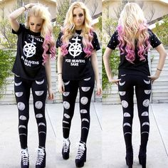 She Inside Go To Hell Tee, Actual Pain Lunatic Moon Leggings, Unif Hellbounds