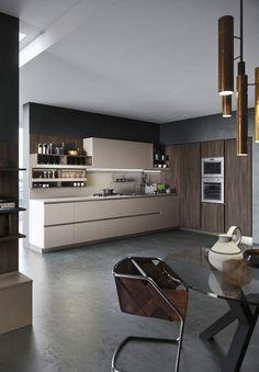 Popular Offener Wohnraum mit minimalistischer Einbauk che