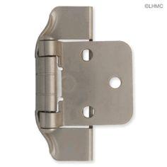 "Pair 1/2"" Overlay Semi-Wrap Satin Nickel Hinges L-H01915C-SN-O"
