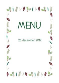 Kerstblaadjes Groen Menukaart, verkrijgbaar bij #kaartje2go voor €1,89