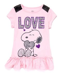 Another great find on #zulily! Pink Peanuts Snoopy 'Love' Dress - Girls #zulilyfinds