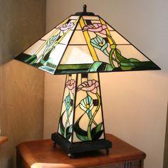 Lampe art nouveau vitrail tiffany floral