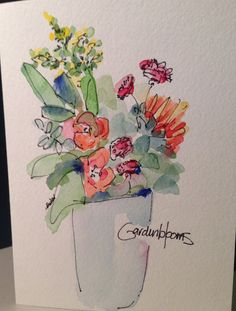 Fresh Flowers Watercolor Card by gardenblooms on Etsy