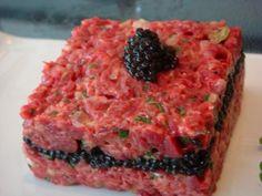 Steak tar tar w/caviar! Hmm...