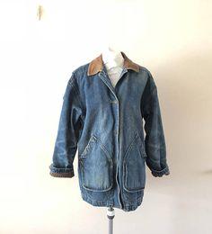 Denim Jacket Barn Coat Jean Jacket Vintage 1980s mens M bf6acb1b482f4