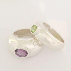 Dafna Pick Kahn's Rings Silver 925, Peridot, Amethyst