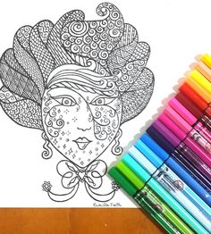 Vintage Hair Colouring Page for grown ups, perfect for those who like coloring pages and more complex work with many colors. Its color therapy!
