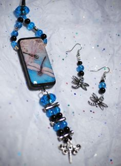 Altered Domino Dragonfly Necklace with matching earrings www.TangledButterflyWings.com