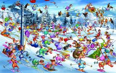 In the 1000 piece jigsaw puzzle, Christmas Skiing by Piatnik, the whimsical work of internationally renowned illustrator Francois Ruyer is depicted. This puzzle is perfect for the kids! Winter Illustration, Hidden Pictures, Puzzle Art, Cartoon People, Cartoon Art Styles, Noel Christmas, French Artists, 1000 Piece Jigsaw Puzzles, Illustrator