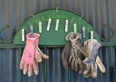 Keep your gardening gloves from becoming a tangled pile with this easy glove rack.