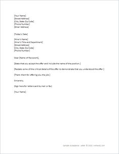 Bid Acceptance letter - this letter template to formally accept a ...