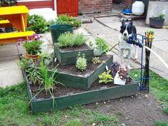 3 tiered Herb Planter in garden with Pallets Garden DIY Small Backyard Gardens, Large Backyard, Small Space Gardening, Raised Gardens, Backyard Plants, Herb Garden Pallet, Pallets Garden, Pallet Gardening, Desert Gardening
