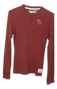 A&F Abercrombie Mens Maroon 100% Cotton Long Sleeve Waffle Knit Thermal Shirt XL #AbercrombieFitch #Thermal