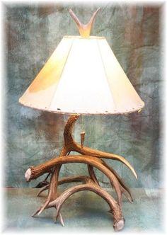Medium 3-4 Antler Mule Deer Table Lamp $257