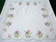 Vintage white cotton square tablecloth Cross Stitching by Retroom