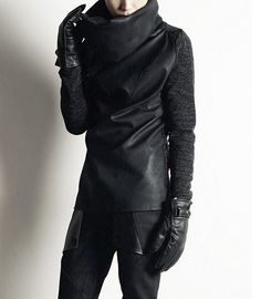 Mens black leather high collar jacket with knit sleeves...awesome!