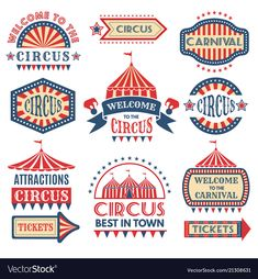 Carnival event logotypes template badges vector image on VectorStock Island Tattoo, Diy Carnival, Logos Retro, Circus Theme, Circus Art, Wine Label Design, Badges, Cute Dragons, Color Vector