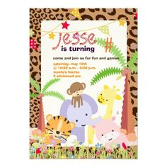 Jungle Theme/Personalized Party/photo Custom Announcements